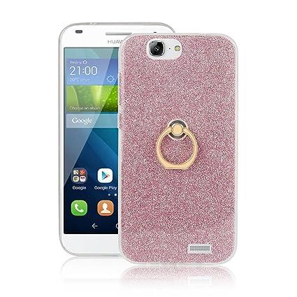 pinlu Funda Para Huawei Ascend G7 (5.5pulgada) Anti-Arañazos Función Flash Brillante Suave TPU Silicona Case Ultra Delgada Hebilla del Anillo Soporte ...