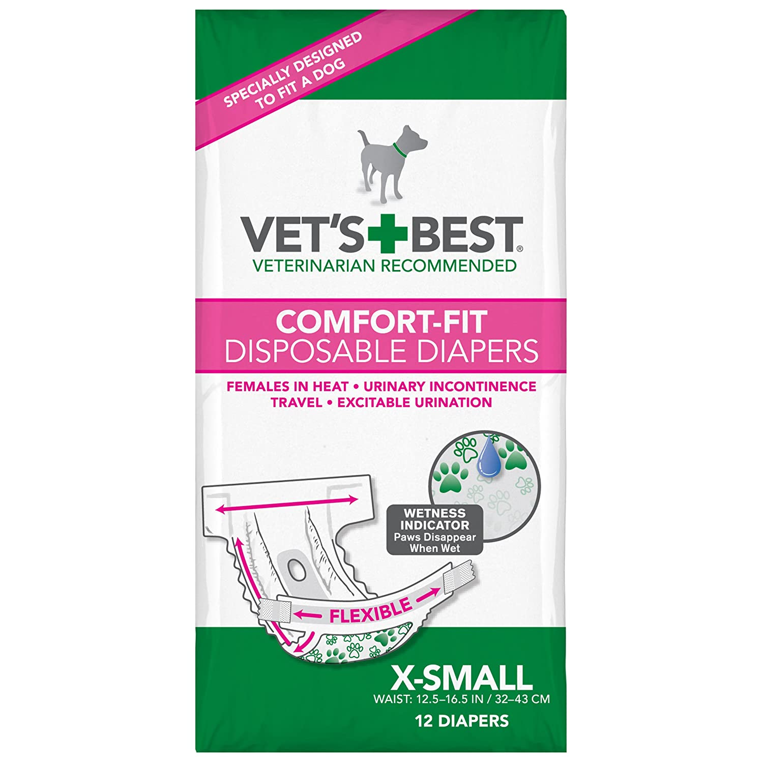 Amazon Vets Best 12 Count Comfort Fit Disposable Female Dog