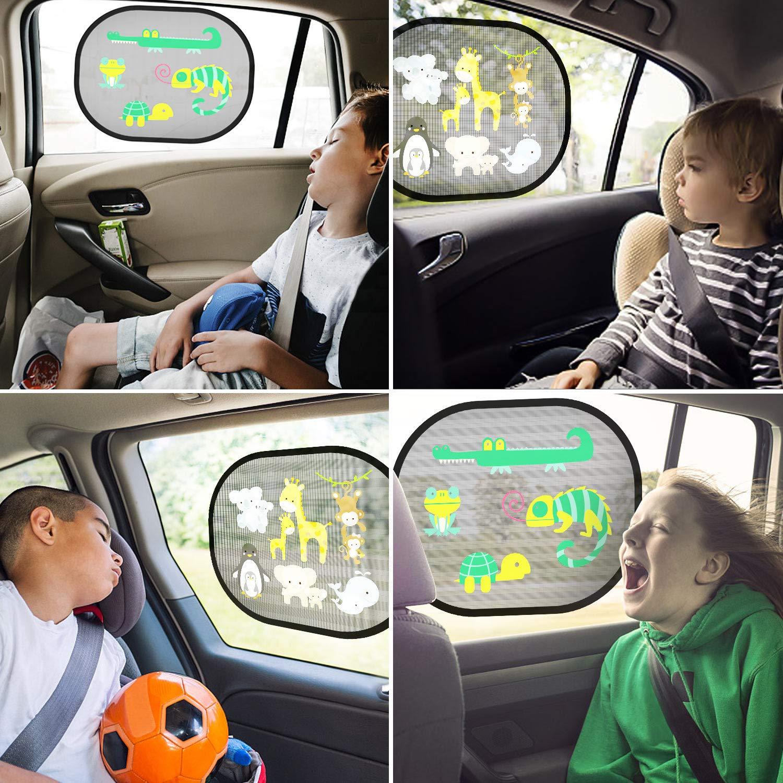 2er Set ohne Saugn/äpfe UV schutz sonnenschutz auto kinder mit s/ü/ßen Tier Wild Lift Motiven Sonnenschutz auto baby mit uv schutz selbsthaftend heckscheibe Seitenscheibe 44x36cm inkl Tasche MEHRWEG