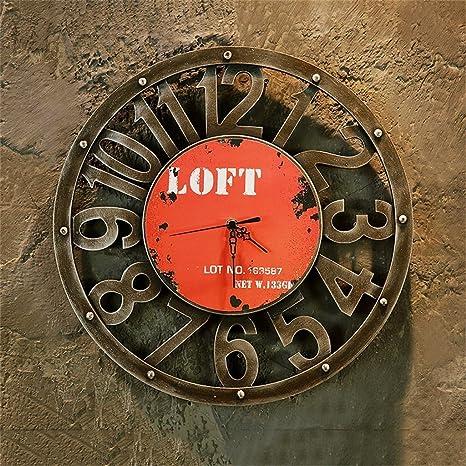 BZEI-CLOCKS Loft Reloj de imitación de Metal Industrial Retro, Reloj de Pared silencioso