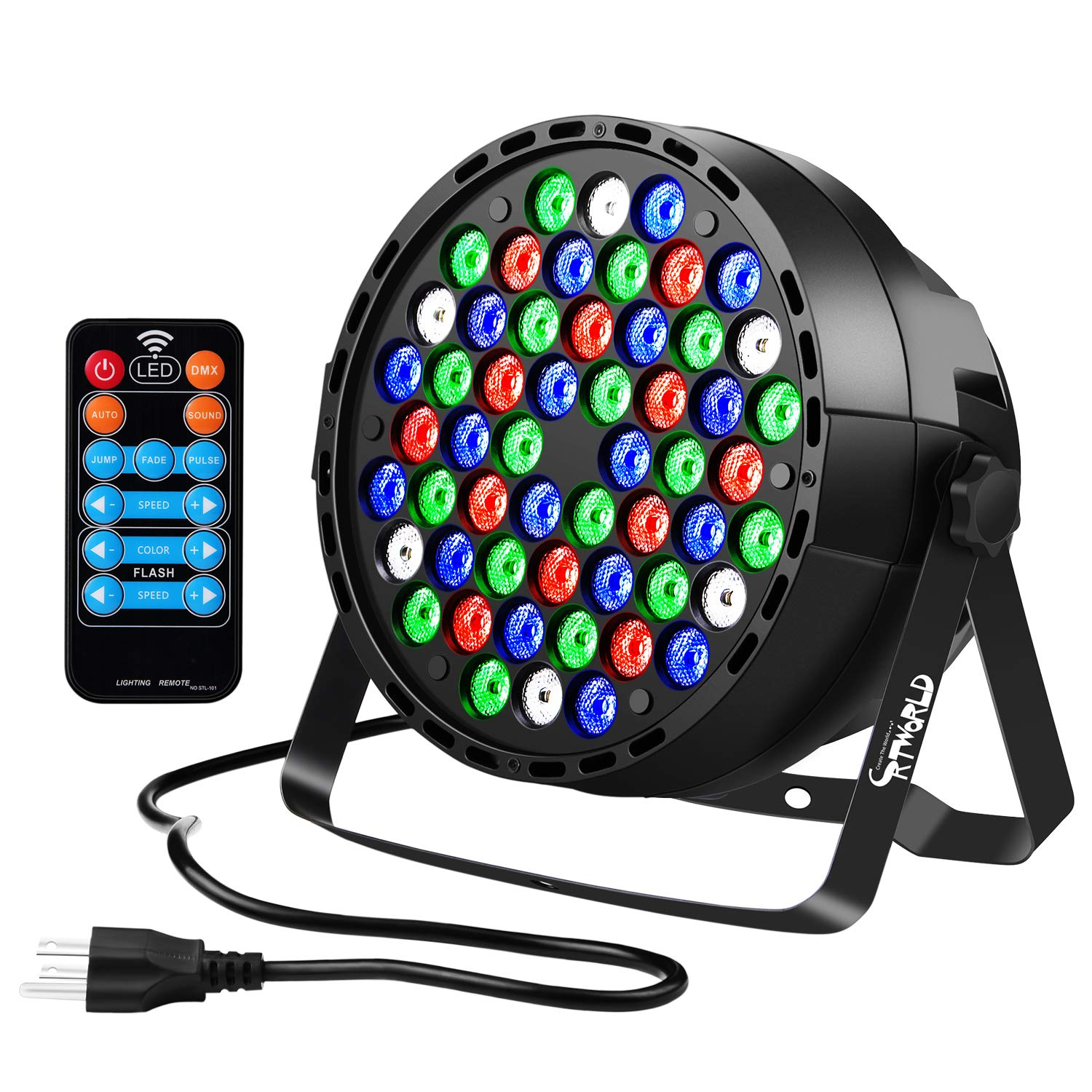 LED Stage Lights, Crtworld 54 LED RGBW Uplighting Sound Activated and DMX Control DJ Lights with Remote