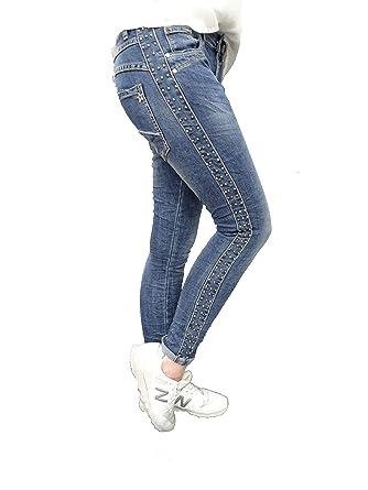 Jewelly by Lexxury Baggy Boyfriend Damen Stretch Hose Galon Streifen Nieten