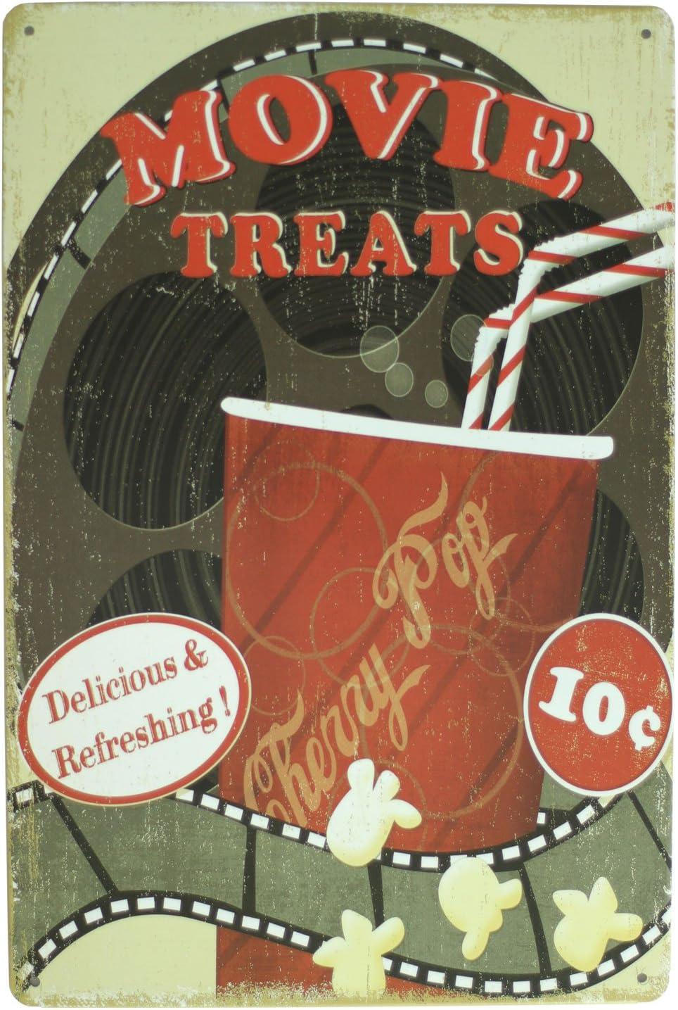 UOOPAI Movie Treats Popcorn Metal Sign Vintage Art Decor House Cinema Metal Plaque Wall Poster
