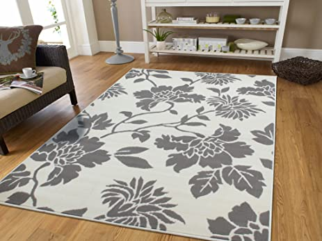 Contemporary Leaves Design Modern Area Rug 5x8 Leaf Pattern Grey And Cream  Area Rugs 5x7 Carpets