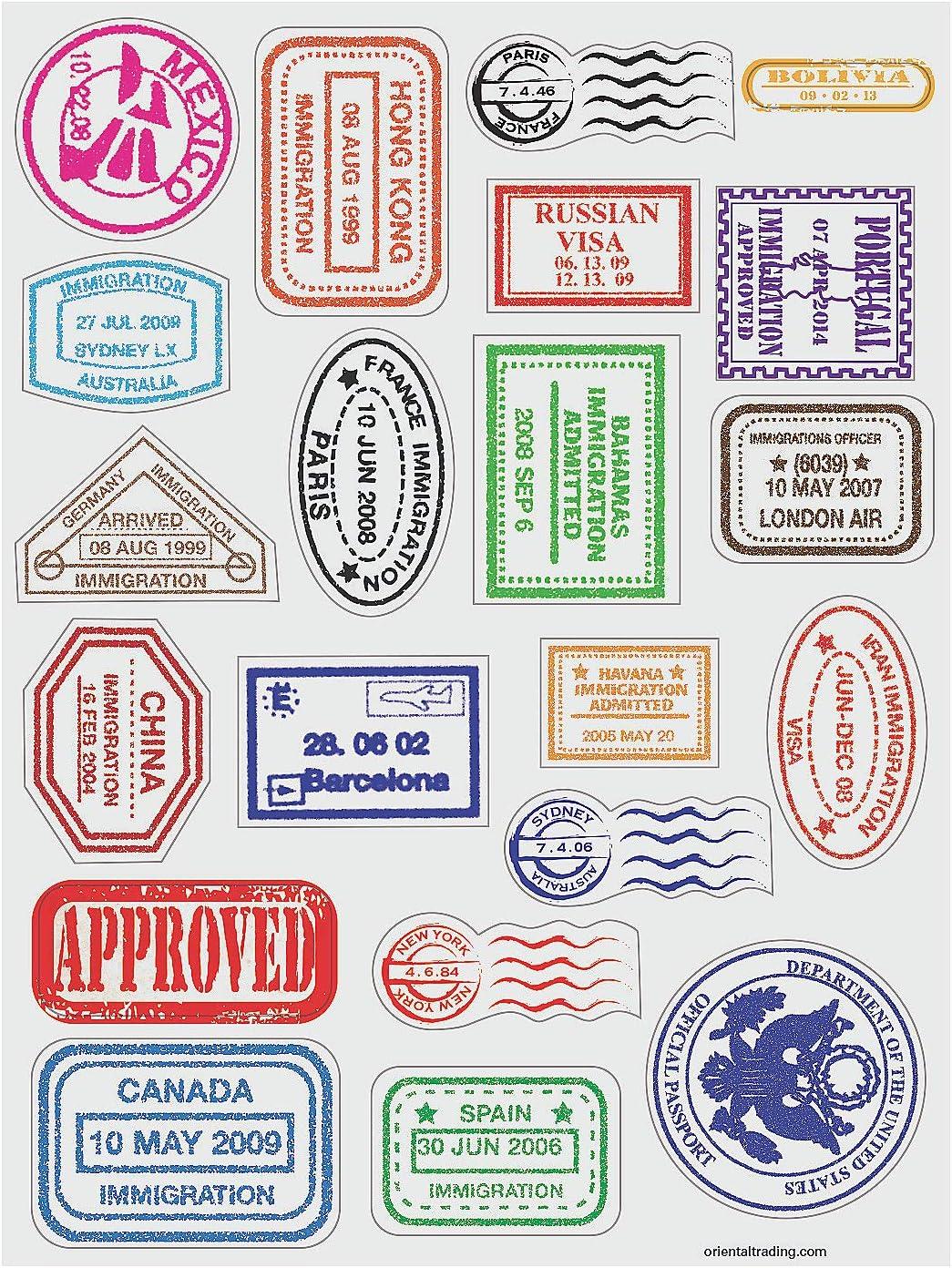480 Pegatinas Fun Express Planchas de calcoman/ías Sello de Pasaporte