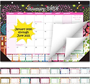Desk Calendar 2020-2021: Large Monthly Pages 17 x 11-1/2 Inches Runs from January 2020 Through June 2021-18 Monthly Desk/Wall Calendar can be Used Throughout 2020
