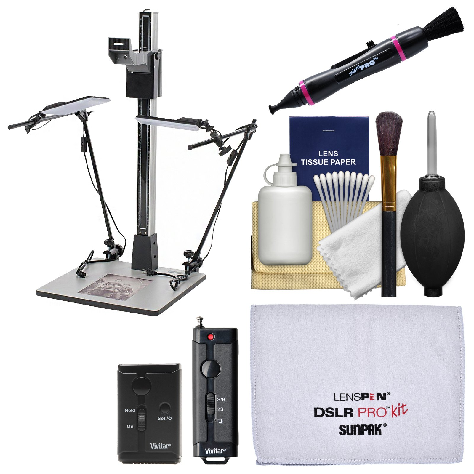 Smith-Victor 36'' CS36K Pro-Duty Copy Stand with 2 LED Lights & Adjustable Arms Kit with Shutter Release Remote + Cleaning Kit