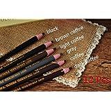 12 Pcs Microblading Eyebrow Peel-off Pencil 6 Colors WaterProof Soft Coloured Pencil Permanent Makeup Maker Liner
