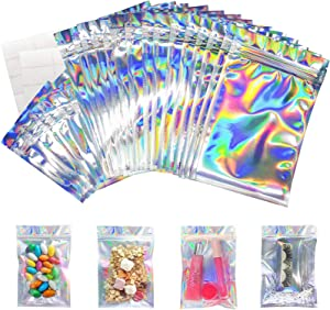 120 Pieces Resealable Holographic Mylar Bags 2 Sizes with 20 Labels, Tufusiur Cute Eyelash Packaging Bags for Lip Gloss Lash, Foil Small Ziplock Bags for Jewelry, Halloween Christmas Favor