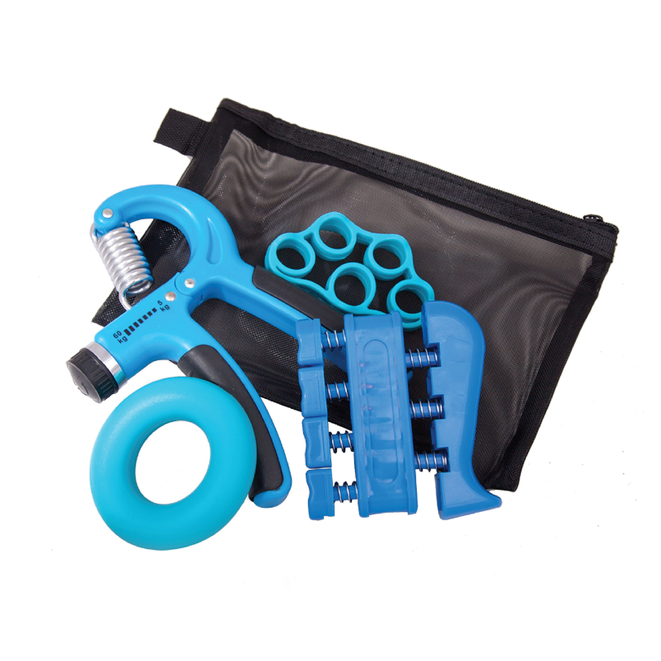Hand Grip Strength and Forearm Trainer 4-Pack Bundle: Resistance Grip Strengthener, Finger Trainer, Finger Exerciser Stretcher, Grip Ring | Ideal for Athletes, Therapy for Arthritis, Carpal Tunnel by Fit Grip (Image #1)