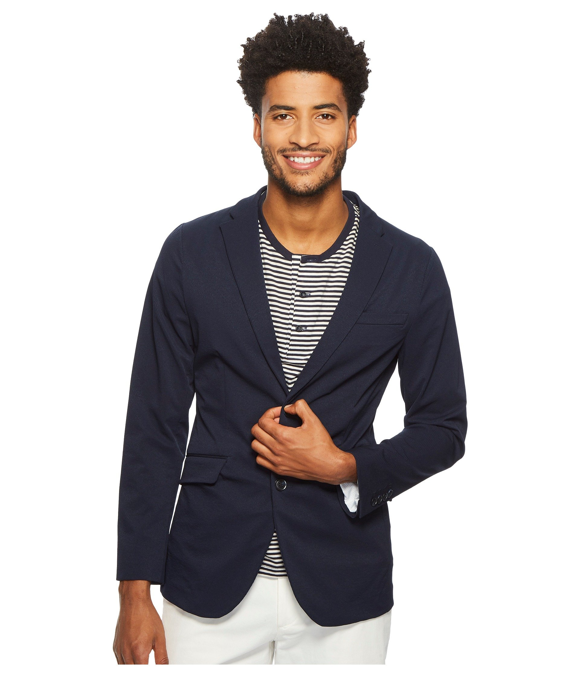 Perry Ellis Men's Slim Fit Stretch Solid Tech Seersucker Jacket, Dark Sapphire, 44 Regular