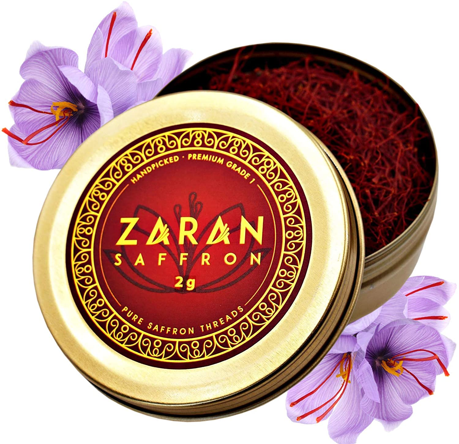 Zaran Saffron, Superior Saffron Threads (Premium) All-Red Saffron Spice (Highest Quality Saffron for your Paella