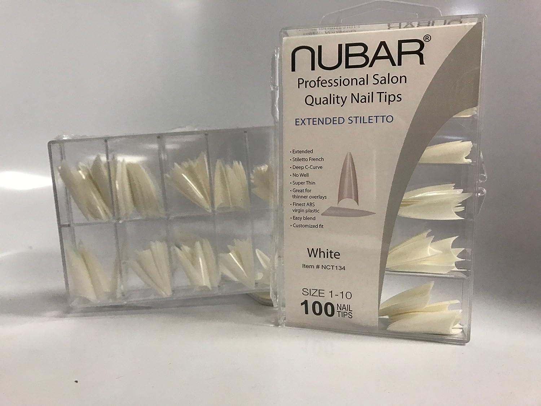 Amazon.com: Nubar Professional Salon Quality Extended Stiletto White ...