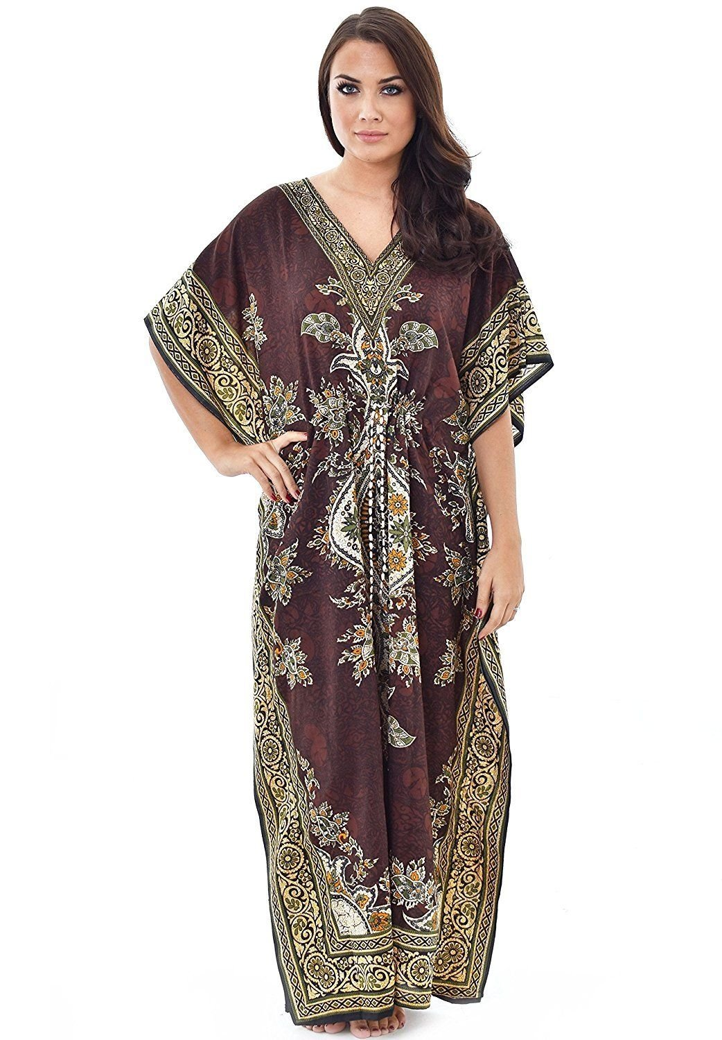 Winmaarc 100% Polyester Tribal Ethnic Print Long Kaftan Maxi | Plus Size by Winmaarc (Image #1)