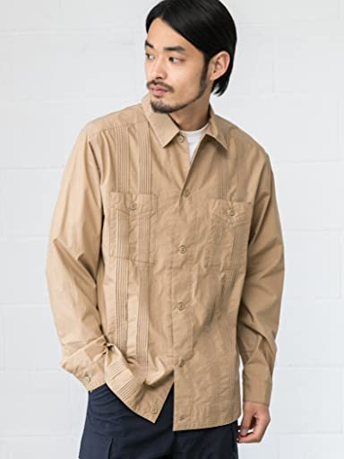 Typewriter Cloth Guayabera 3211-186-2415: Beige