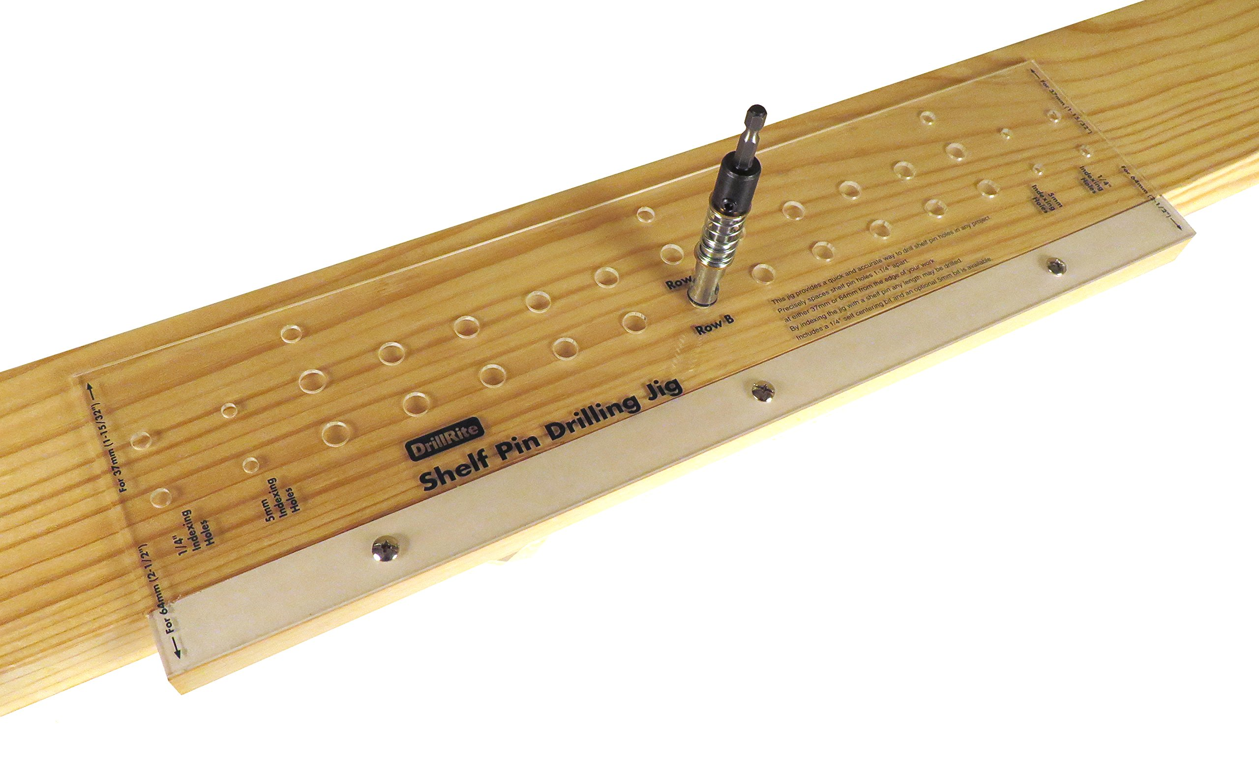 "Shelf Pin Drilling Jig for Adjustable Shelves with 1/4'' Self Centering Bit 11 Holes 19"" long SPG"