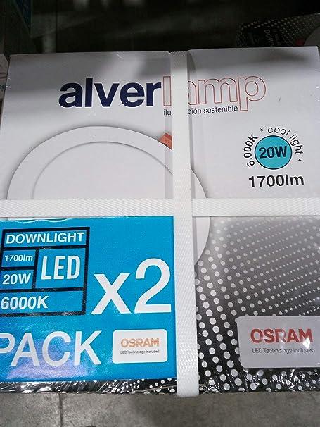 Alverlamp DL18PL60 (PACK DE 2)- Downlight LED, 20W, 6000K, empotrable redondo blanco, chip Led Osram [Clase de eficiencia energética A+]: Amazon.es: Iluminación