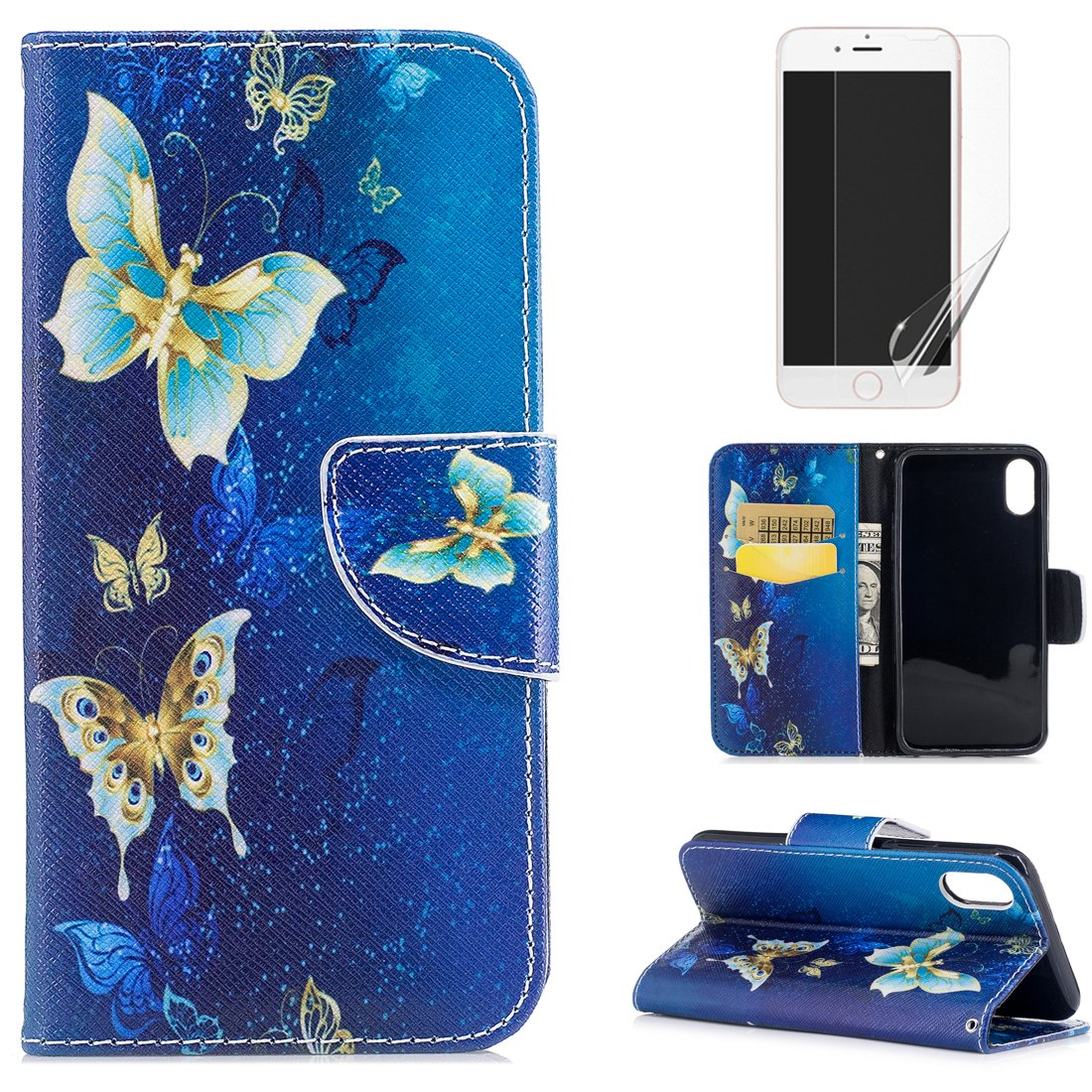 For iphone X Wallet Case and Screen Protector, OYIME [Colorful Painting] Elegant Pattern Design Bookstyle Leather Holster Kickstand Card Slots Function Full Body Protection Bumper Magnetic Closure Flip Cover with Wrist Lanyard - Cute Panda