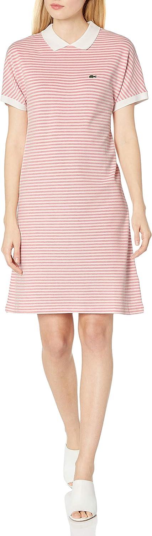 Lacoste Women's Short Sleeve Buttonless Striped Pique Polo Dress