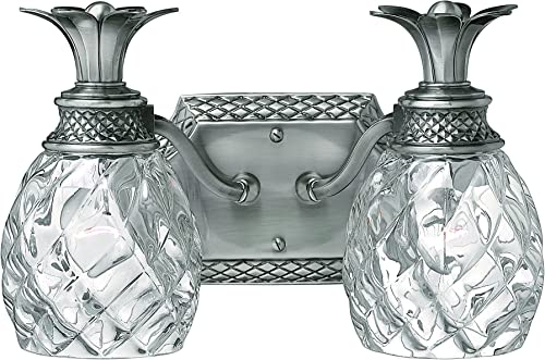 Hinkley 5312PL Tropical British Colonial Two Light Bath from Plantation collection in Pwt, Nckl, B S, Slvr.finish,