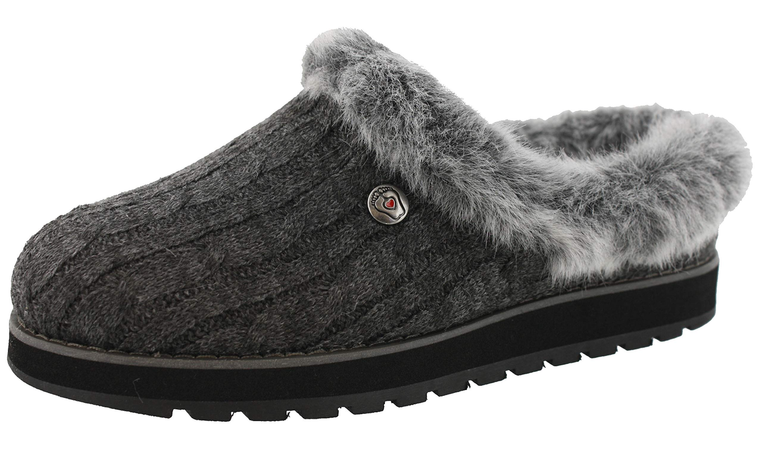 BOBS from Skechers Women's Keepsakes Ice Angel Slipper, Charcoal, 5.5 M US