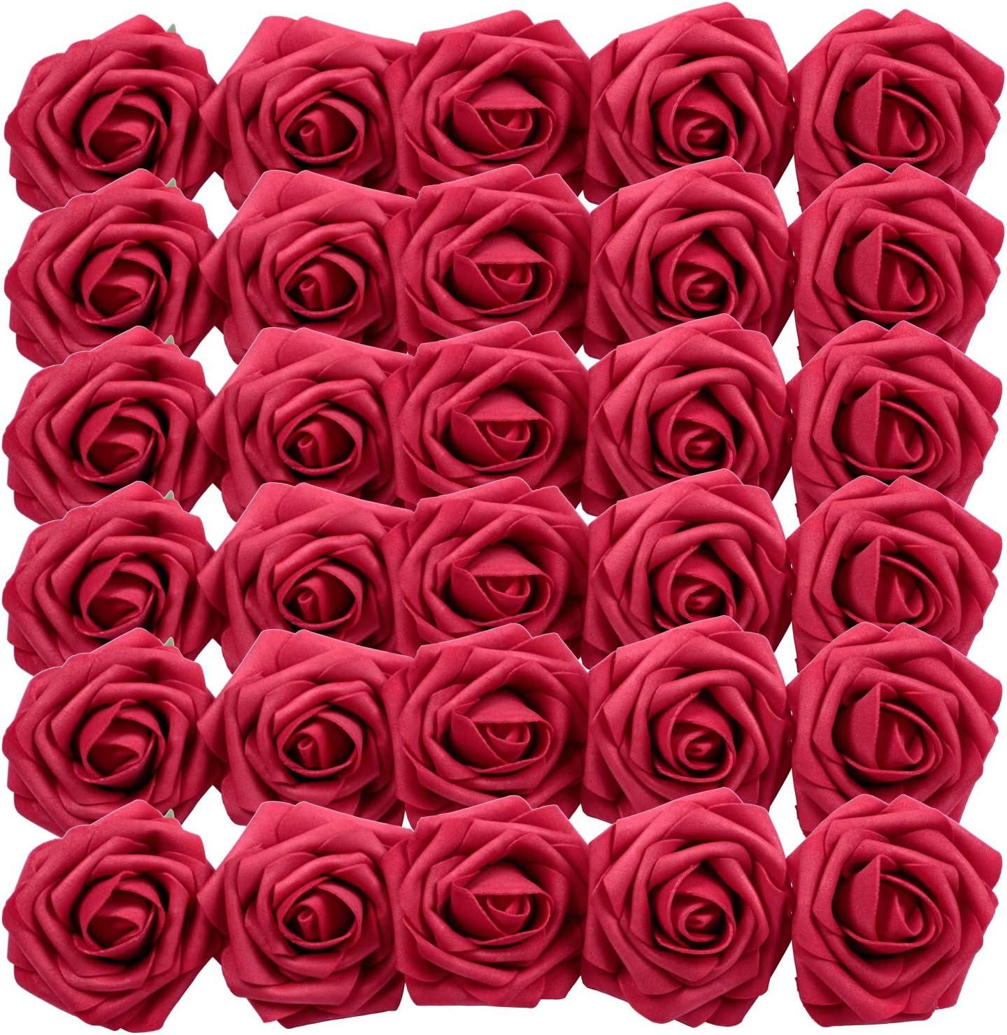 Homcomodar Flores Artificiales Rosa roja Oscura 30 Piezas Rosas Falsas de Aspecto Real con Tallo para Bodas Ramos de Bricolaje centros de Mesa arreglo Fiesta decoración del hogar