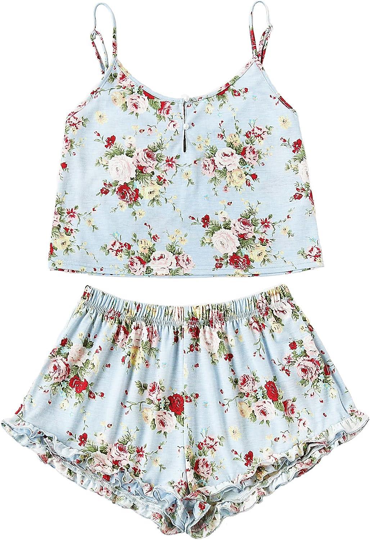 SheIn Women's Summer Floral Print Cami Top and Shorts Pajamas Set