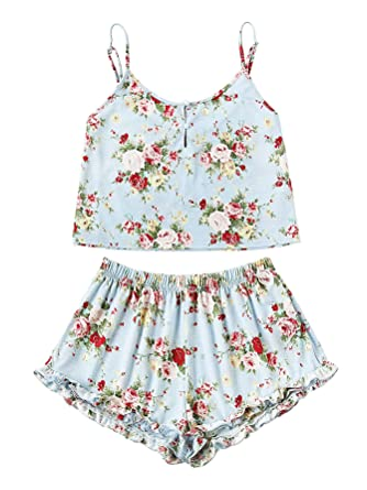 8e16a77408 SheIn Women's Summer Floral Print Cami Top and Shorts Pajamas Set X-Small  Blue