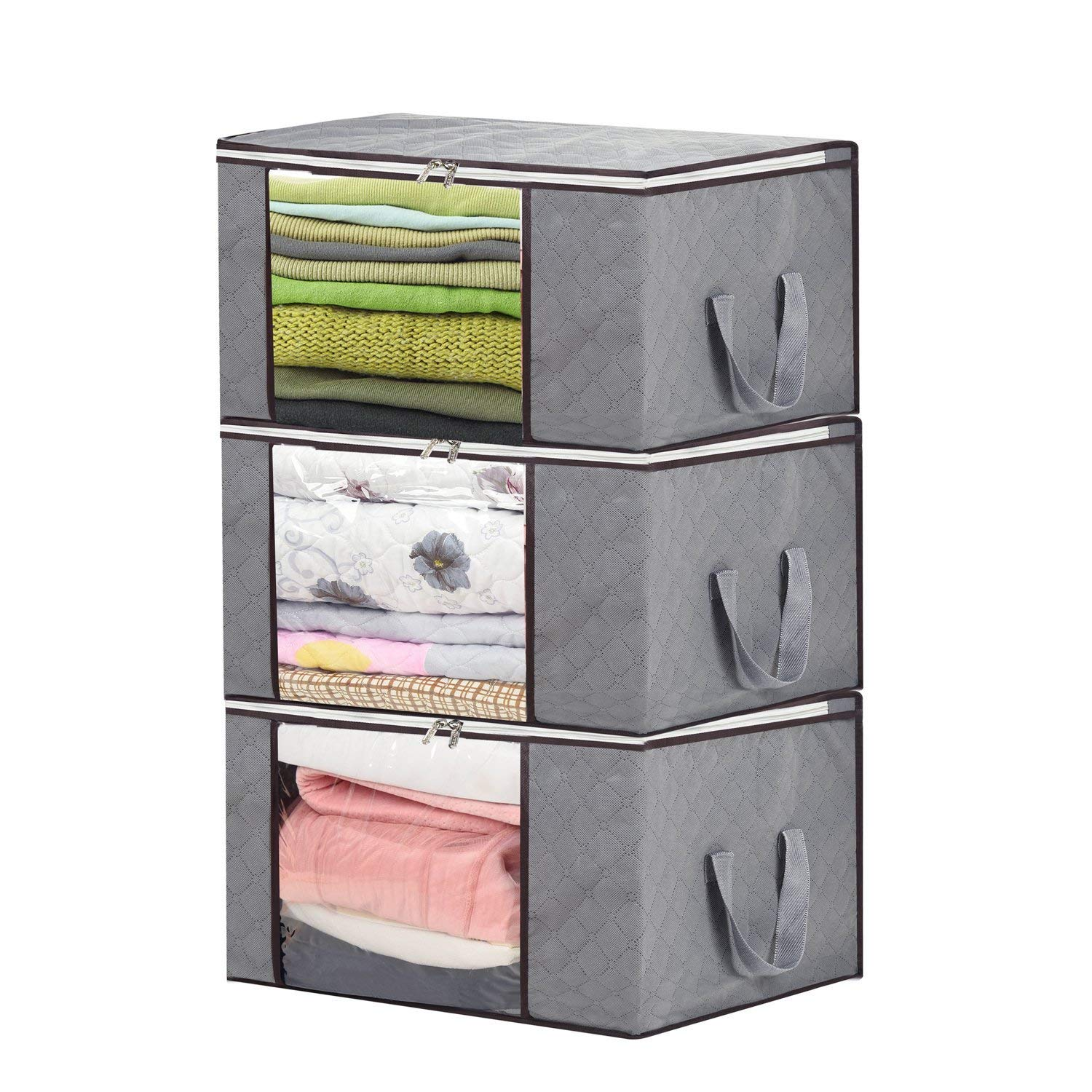 Teemour Foldable Storage Bag Organizers, Large Clear Window & Carry Handles, Great for Clothes, Blankets, Closets, Bedrooms