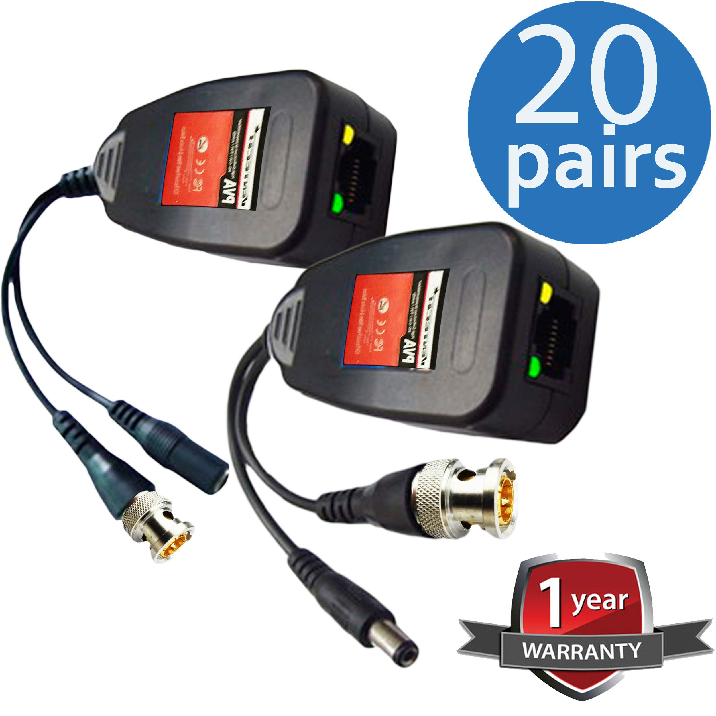 UTP balun hd Ventech cat5 to bnc Video baluns transceiver Passive with Power Connector Compatible with All CCTV Technologies(Analog AHD TVI CVI ntsc pal) 20 Pairs rj45 75 OHN connectors by VENTECH