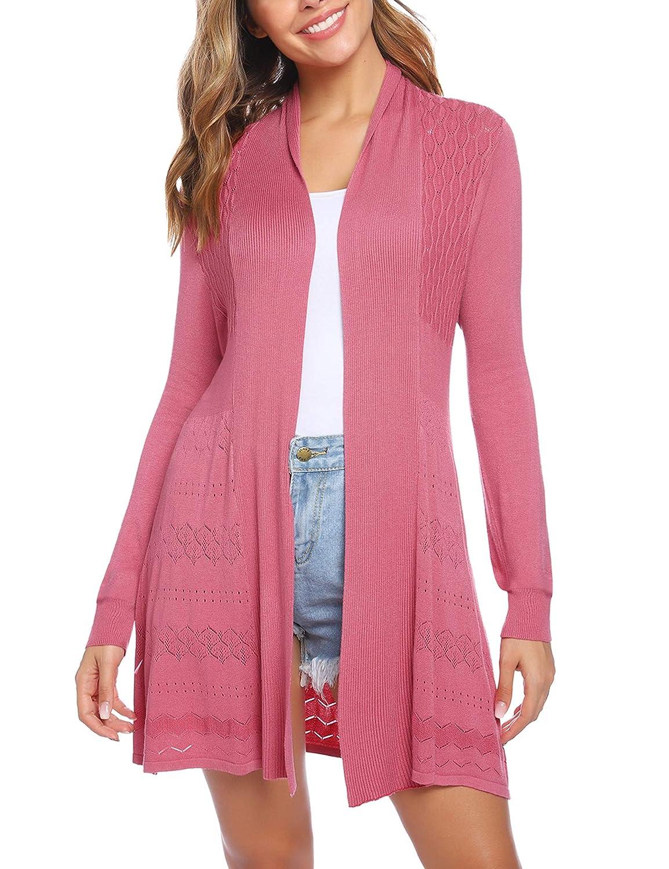 iClosam Womens Open Front Cardigan Long Sleeve Lightweight Knit Cardigan Sweater