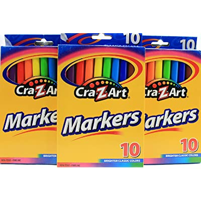 10 Count Fine Tipped Classic Cra-Z-Art Washable Markers Brighter Colors (Pack of 3)