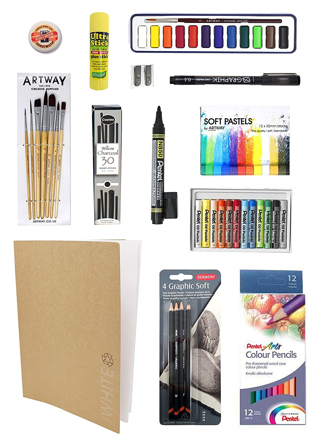 ArtWay A3 Art Kit A3 Ideal for GCSE and A-Level 14 Items Including Pencils Brushes Pastels Paints and More