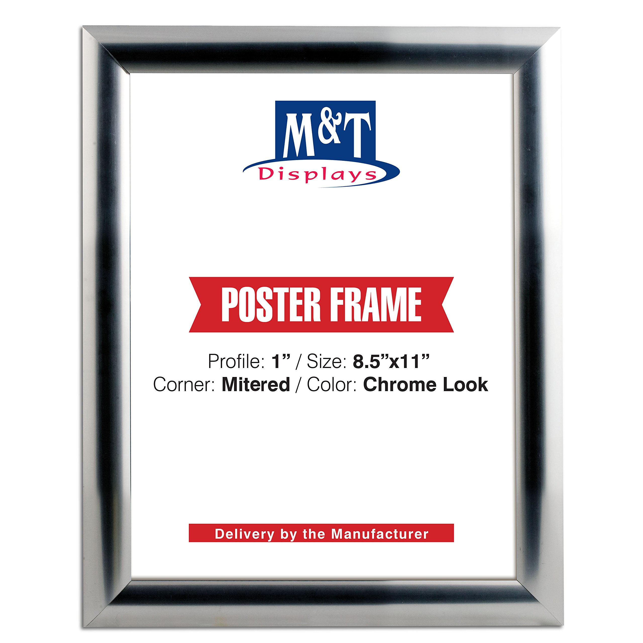 DisplaysMarket Snap Frame, 8.5x11 Poster Size, 1'' Chrome Look Profile, Mitered Corner, Front Loading by DisplaysMarket
