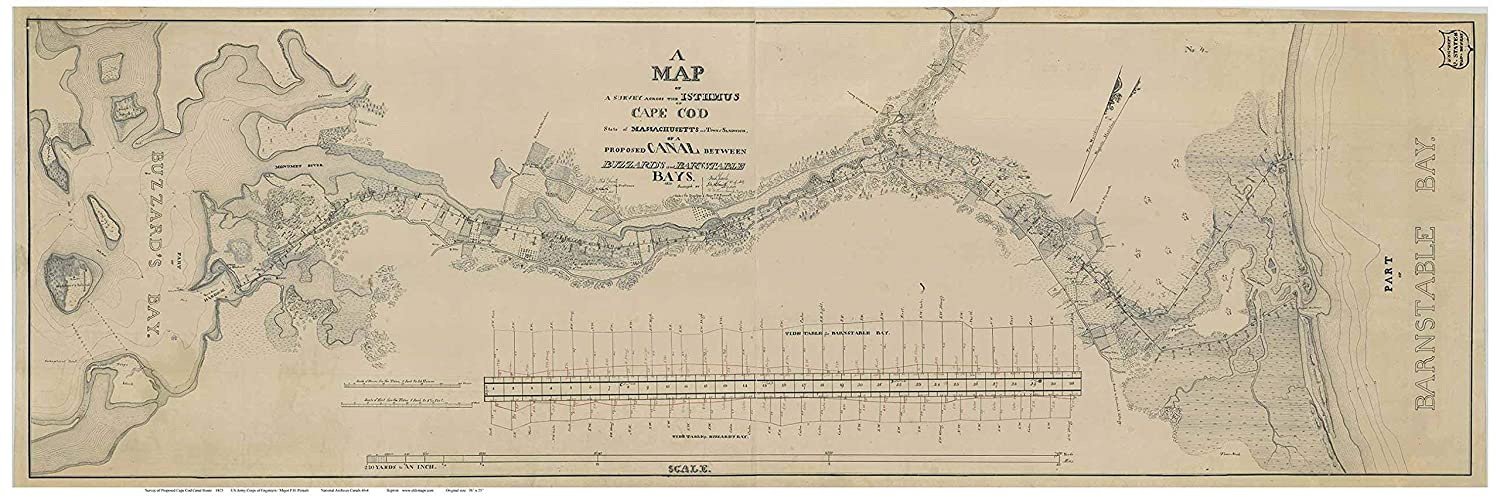 Amazoncom Cape Cod Canal 1825 Map Us Corps Of Engineers - Cape-cod-on-us-map
