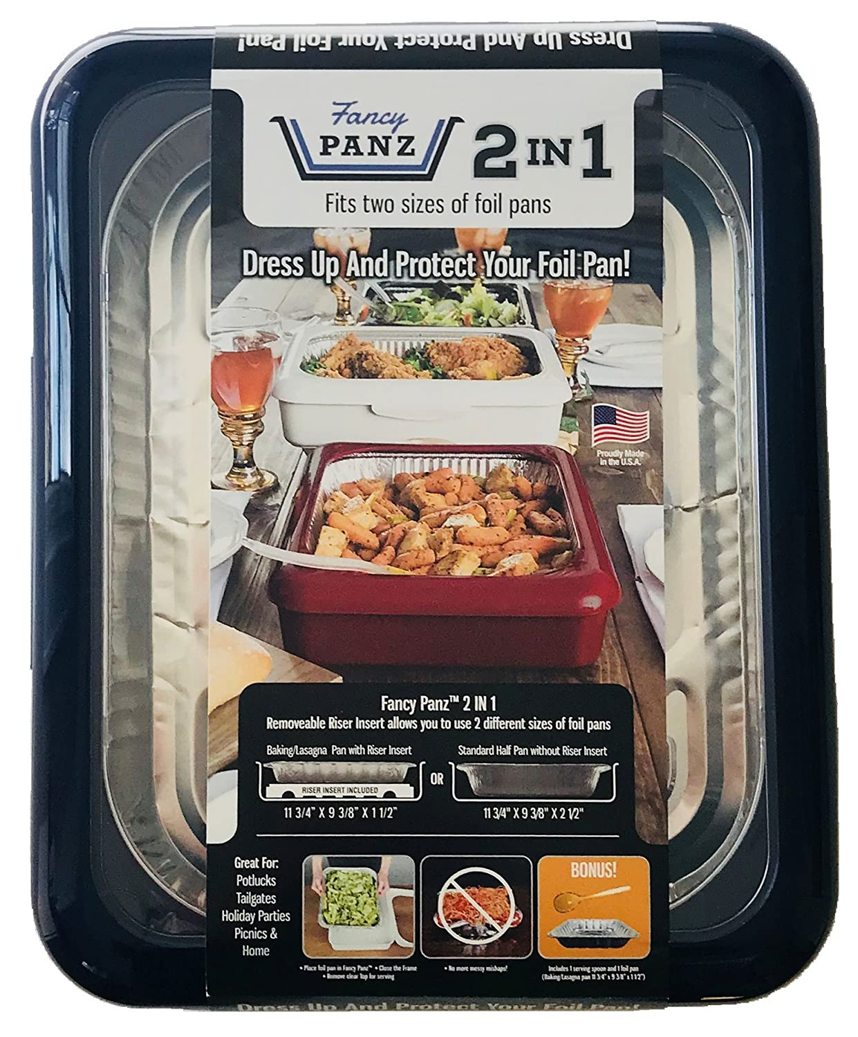 Fancy Panz FP21004 2 in 1 Portable Casserole Carrier for Indoor and Outdoor Use, fits Shallow or Standard Half Size Foil Pans, Bonus Serving Spoon and Foil Pan Included, Navy Blue