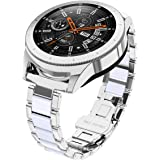 Glebo Compatible with Samsung Galaxy Watch 46mm/Gear S3 Frontier/Classic Smart Watch, 22mm Bracelet Strap Wristband Replacement for Samsung Galaxy 46m Gear S3 Frontier Classic Watch(Silver+White)