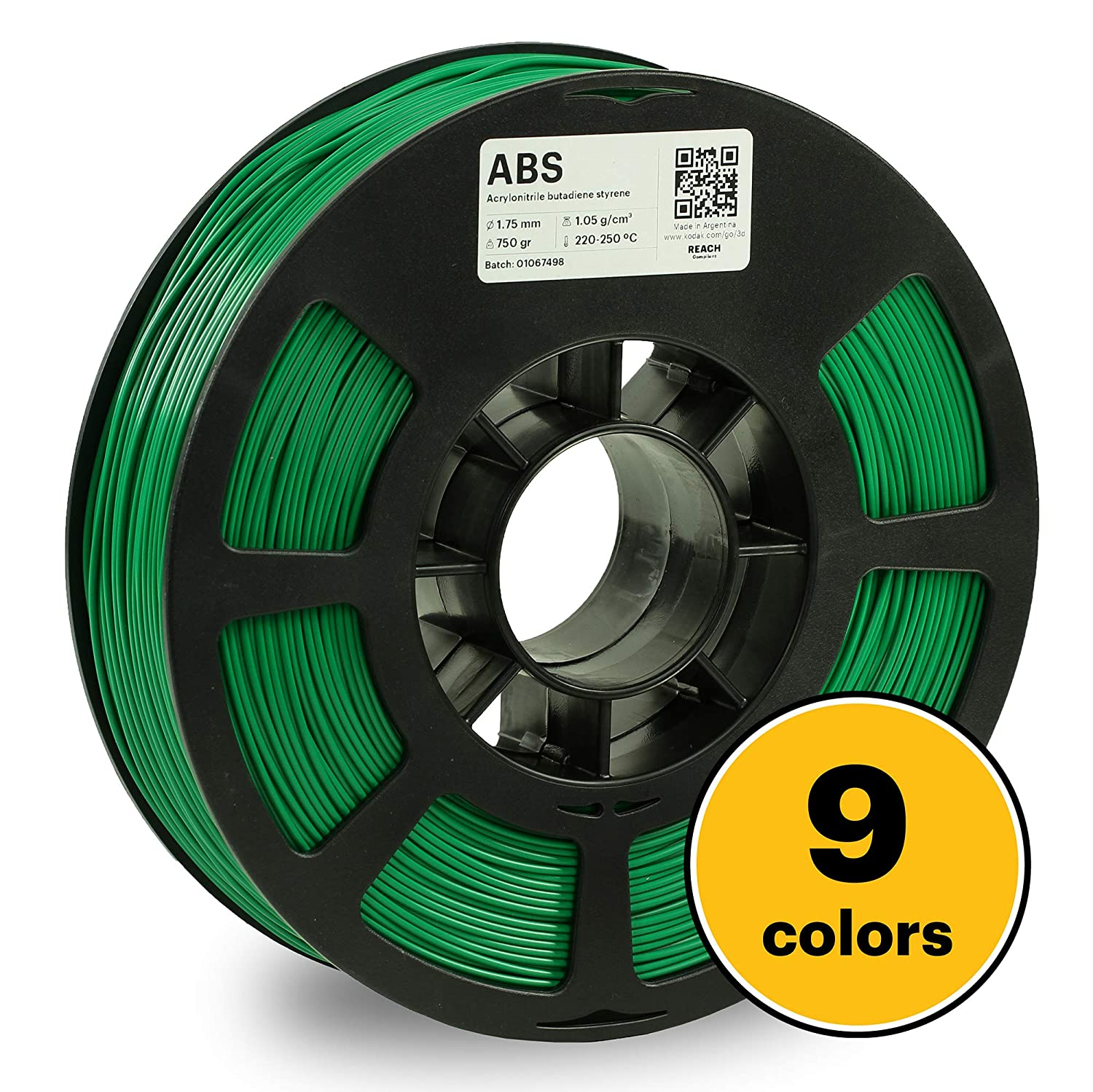 KODAK ABS Filament 1.75mm for 3D Printer, Green, Dimensional Accuracy +/- 0.03mm, 750g Spool (1.7lbs), ABS Filament 1.75 Used as 3D Printer Filament to Refill Most FDM Printers