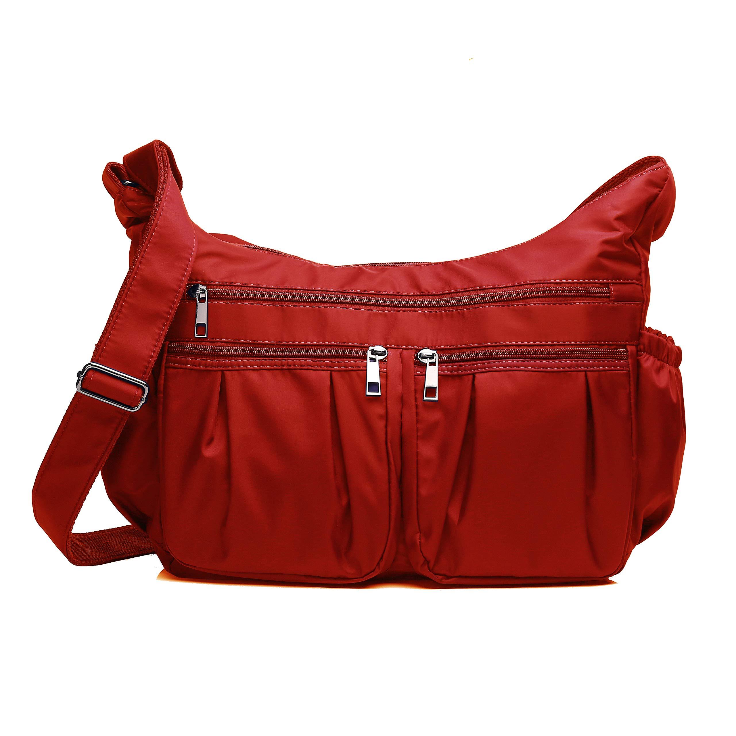 Crossbody Bags for Women, Multi Pocket Shoulder Bag Waterproof Nylon Travel Purses and Handbags (8981_ Red2-Large)