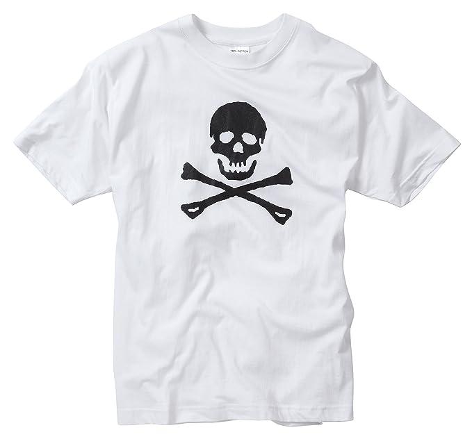 Camiseta fondo blanco con diseño pirata calabera y huesos cruzados. Talla XS