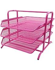 Repisa de malla para cartas, 3 baldas, resistente a arañazos, vertical, color rosa