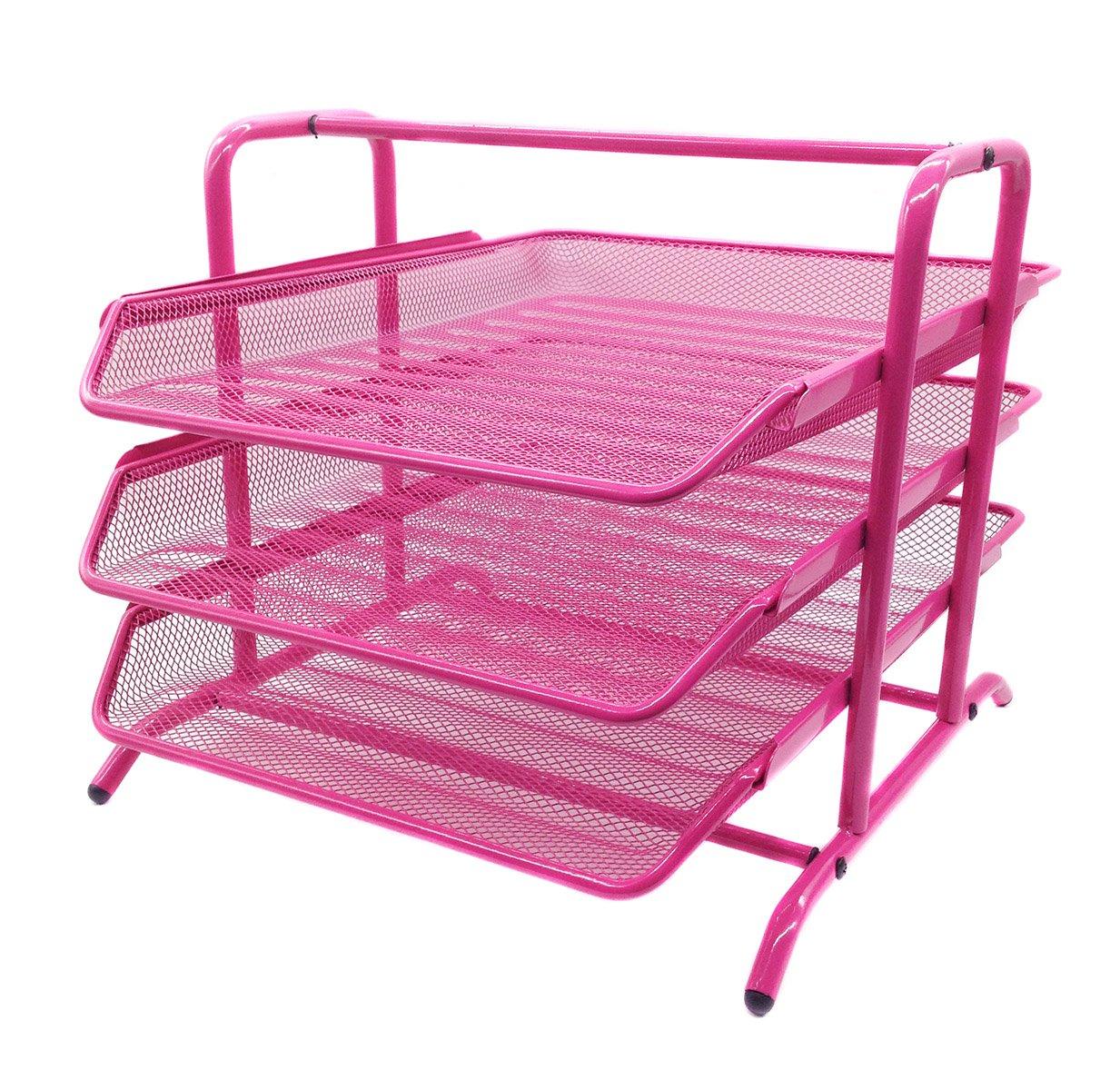 EasyPAG 3 Tier Mesh Desk Organizer Tray File Holder,Pink by EasyPAG