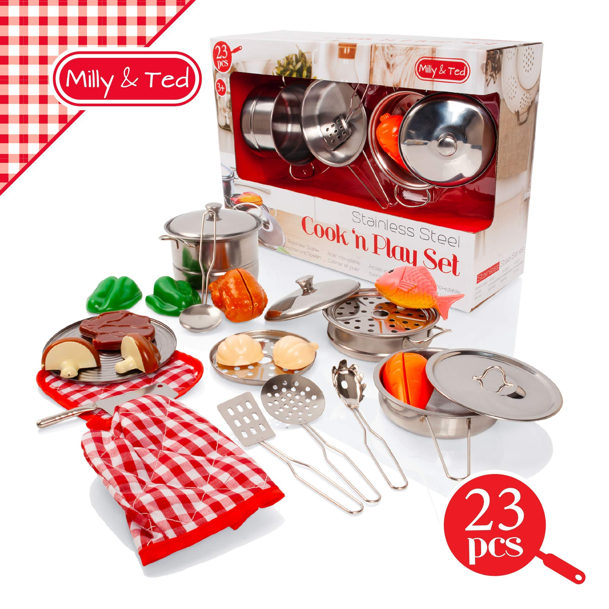 Milly /& Ted 23 Piece Childrens Kitchen Pan Kids Toy Utensil /& Play Food Set