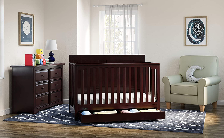 Graco Hadley 4-in-1 Convertible Crib with Drawer, Espresso ...