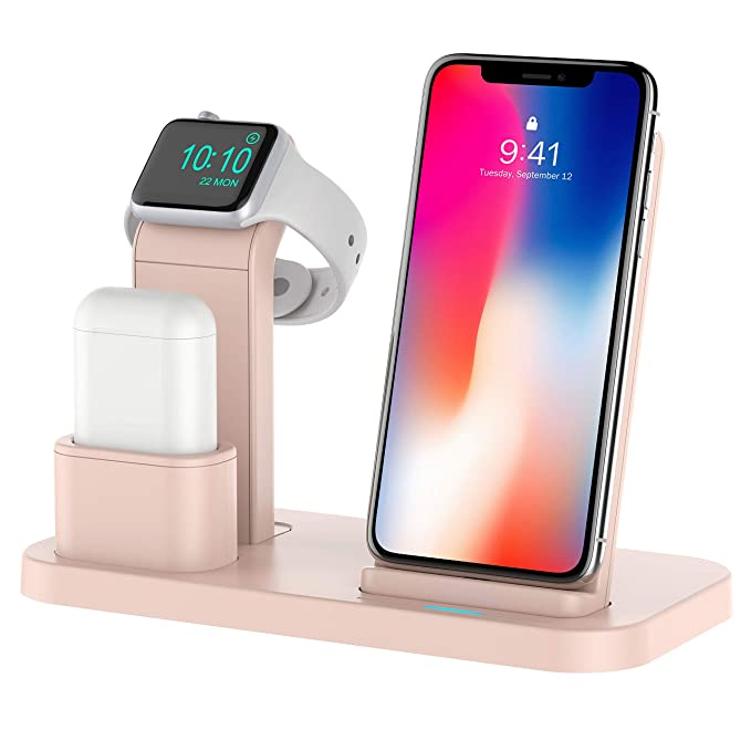 sports shoes ad0ce a599f Conido 3 in 1 Charging Stand Compatible for Apple Watch and AirPods Phone  Wireless Charger Charging Station Stock Holder Compatible for iPhone X/8 ...