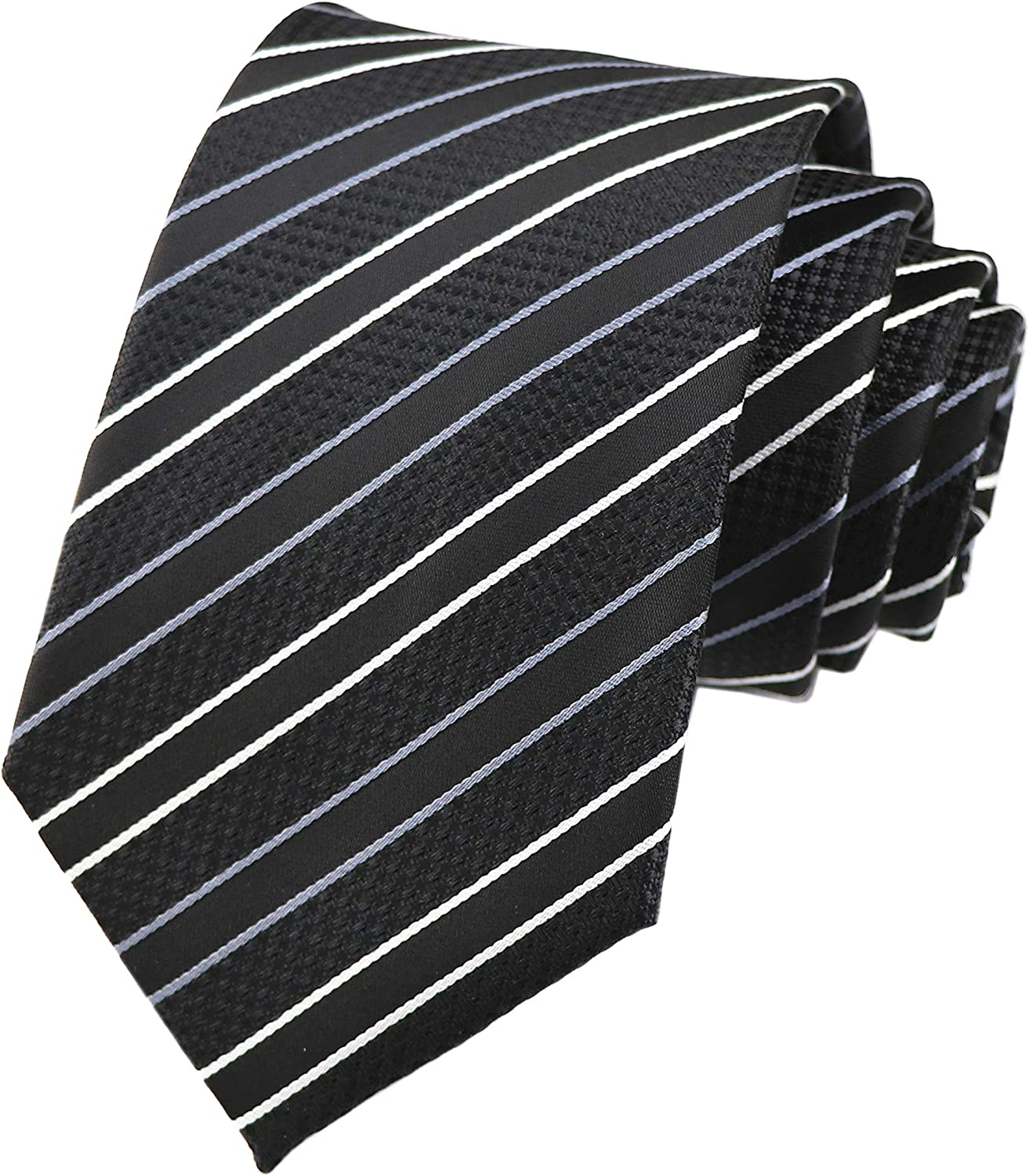 Black and White Striped Business Ties Black and White Striped Tie Set Black and White Striped Tie and Pocket Square JW Ties