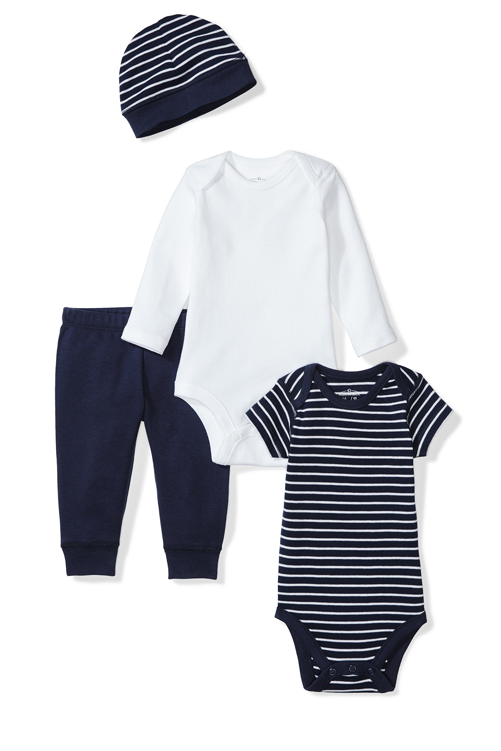Moon and Back Baby 4 Piece Organic Playtime Gift Set, Navy Sea, 0-3 Months