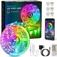 Tiras Led, Bonve Pet 6M Luces Led RGB 5050 Luces Led Habitación Controlas con App y Control Remoto, Tiras led RGB 12V…