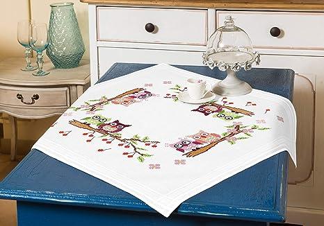 Kamaca Stickpackung VERLIEBTES EULENPAAR Kreuzstich vorgezeichnet aus 100% Baumwolle zum Selbersticken (Mitteldecke 80 cm x 8
