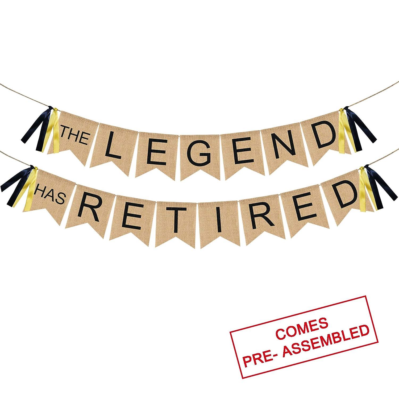 The Legend Has Retired バナー 黄麻布 - ヴィンテージ退職バナー バンティング - 退職 パーティー デコレーション サプライ 男性または女性へのギフト   B07QYYN2QX